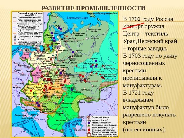 Развитие промышленности   В 1702 году Россия Импорт оружия Центр – текстиль Урал,Пермский край – горные заводы. В 1703 году по указу черносошенных крестьян преписывали к мануфактурам. В 1721 году владельцам мануфактур было разрешено покупать крестьян (посессионных).