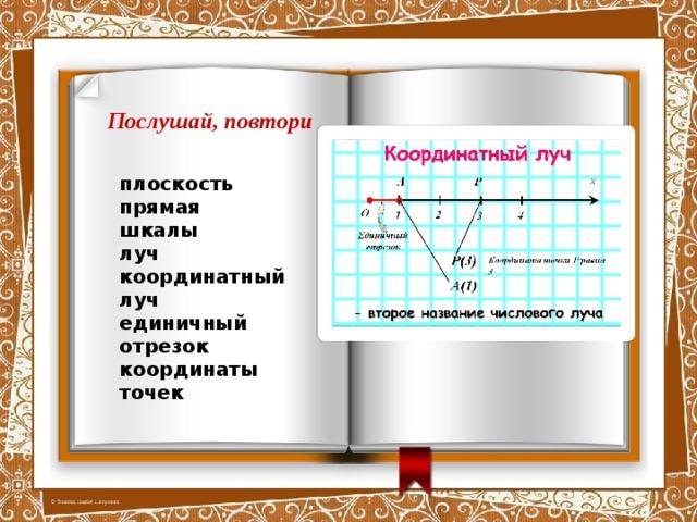 Послушай, повтори плоскость прямая шкалы луч координатный луч единичный отрезок координаты точек