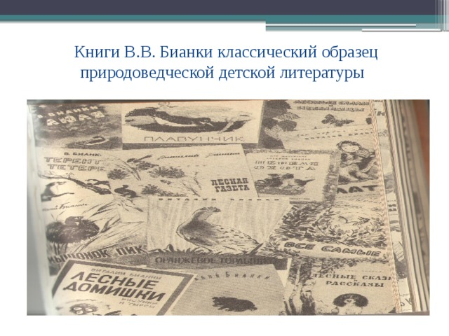 Книги В.В. Бианки классический образец природоведческой детской литературы