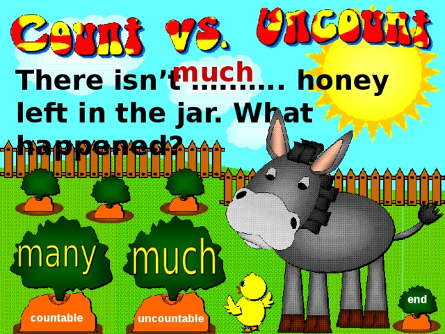 much There isn't …..….. honey left in the jar. What happened? end countable uncountable