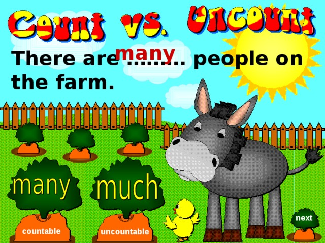 many There are ……… people on the farm. next countable uncountable