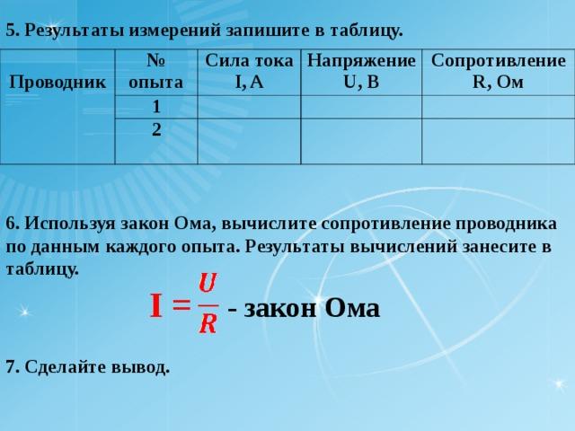 5. Результаты измерений запишите в таблицу.  Проводник № опыта Сила тока I, A 1 Напряжение U, B 2 Сопротивление R, O м 6. Используя закон Ома, вычислите сопротивление проводника по данным каждого опыта. Результаты вычислений занесите в таблицу. I = - закон Ома  7. Сделайте вывод.
