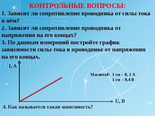 КОНТРОЛЬНЫЕ ВОПРОСЫ: 1. Зависит ли сопротивление проводника от силы тока в нём? 2. Зависит ли сопротивление проводника от напряжения на его концах? 3. По данным измерений постройте график зависимости силы тока в проводнике от напряжения на его концах. I, A  Масштаб: 1 см – 0, 2 А  1 см - 0,4 В  U, B  4. Как называется такая зависимость?
