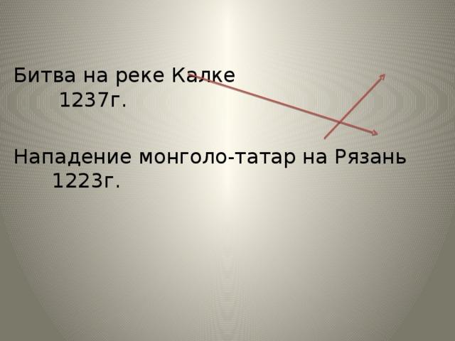 Битва на реке Калке 1237г. Нападение монголо-татар на Рязань 1223г.