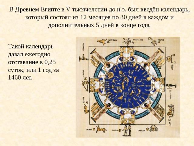 В Древнем Египте в V тысячелетии до н.э. был введён календарь, который состоял из 12 месяцев по 30 дней в каждом и дополнительных 5 дней в конце года. Такой календарь давал ежегодно отставание в 0,25 суток, или 1 год за 1460 лет.