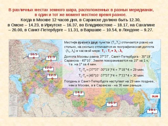 В различных местах земного шара, расположенных в разных меридианах, в один и тот же момент местное время разное. Когда в Москве 12 часов дня, в Саранске должно быть 12.30, в Омске – 14.23, в Иркутске – 16.37, во Владивостоке – 18.17, на Сахалине – 20.00, в Санкт-Петербурге – 11.31, в Варшаве – 10.54, в Лондоне – 9.27. Местное время в двух пунктах (Т 1 ,Т 2 ) отличается ровно на столько, на сколько отличается их географическая долгота (λ 1 , λ 2 ) в часовой мере: Т 1 - Т 2 =  λ 1 - λ 2  Долгота Москвы равна 37°37´, Санкт-Петербурга - 30°19´, Саранска - 45°10´. Земля поворачивается на 15° за 1 ч, т.е. на 1° за 4 мин. Т 1 -Т 2 =  (37°37´-30°19´)*4 = 7°18´*4 = 29 мин. Т 1 -Т 2 =  (45°10´-37°37´)*4 = 7°33´*4 = 30 мин. Полдень в Санкт-Петербурге наступает на 29 мин позднее, чем в Москве, а в Саранске - на 30 мин раньше. 10.54 11.31 12.00 12.30 14.23 20,00 16.37 18.17