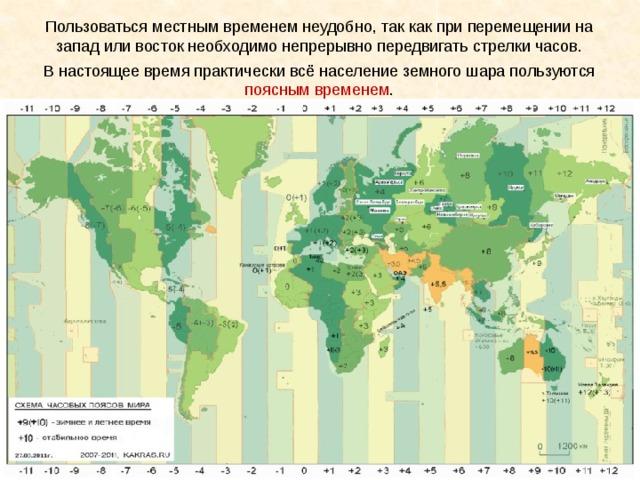Пользоваться местным временем неудобно, так как при перемещении на запад или восток необходимо непрерывно передвигать стрелки часов. В настоящее время практически всё население земного шара пользуются поясным временем .