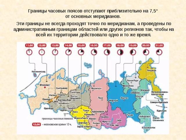 Границы часовых поясов отступают приблизительно на 7,5° от основных меридианов. Эти границы не всегда проходят точно по меридианам, а проведены по административным границам областей или других регионов так, чтобы на всей их территории действовало одно и то же время.
