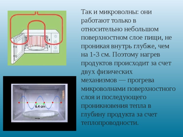 Так и микроволны: они работают только в относительно небольшом поверхностном слое пищи, не проникая внутрь глубже, чем на 1-3 см. Поэтому нагрев продуктов происходит за счет двух физических механизмов— прогрева микроволнами поверхностного слоя и последующего проникновения тепла в глубину продукта за счет теплопроводности.