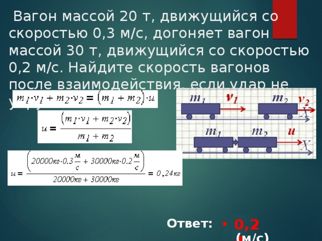 Вагон массой 20 т, движущийся со скоростью 0,3 м/с, догоняет вагон массой 30 т, движущийся со скоростью 0,2 м/с. Найдите скорость вагонов после взаимодействия, если удар не упругий. 0,24 Ответ: ___________(м/с)