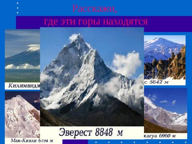 Расскажи,  где эти горы находятся