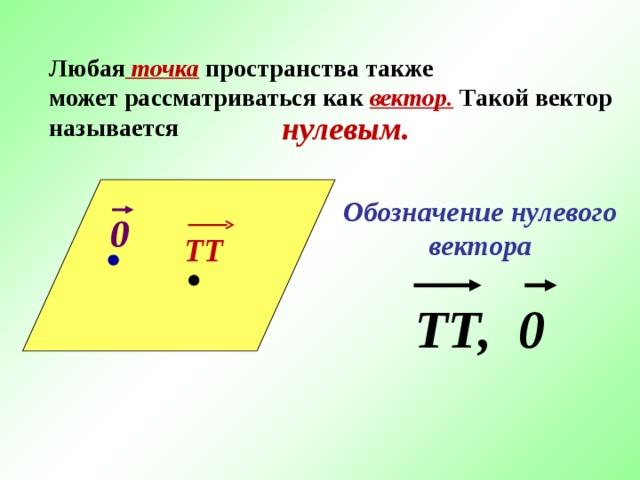 Любая точка  пространства также  может рассматриваться как вектор.  Такой вектор называется  нулевым. Обозначение нулевого вектора ТТ, 0 0 ТТ