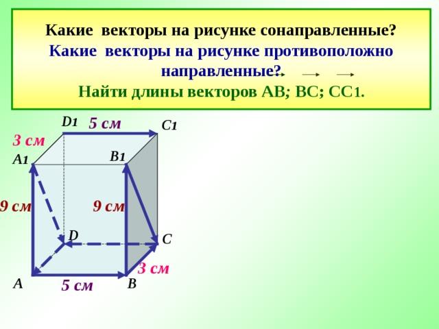 Какие векторы на рисунке сонаправленные?  Какие векторы на рисунке противоположно направленные?  Найти длины векторов АВ ; ВС; СС 1. 5 см D 1 C 1   3 см В 1 A 1  9 см 9 см D C 3 см 5 см A B