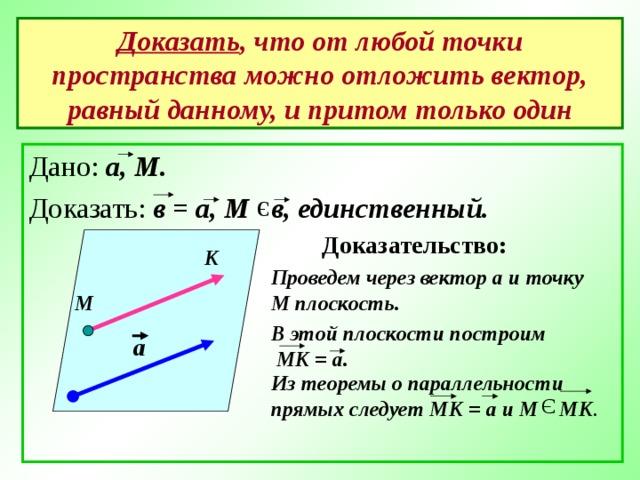 Э Э Доказать , что от любой точки пространства можно отложить вектор, равный данному, и притом только один Дано: а, М. Доказать: в = а, М в, единственный.  Доказательство: К Проведем через вектор а и точку М плоскость. М В этой плоскости построим  МК = а. а Из теоремы о параллельности прямых следует МК = а и М МК .