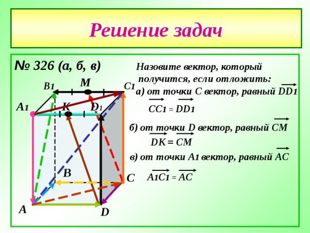 В Решение задач № 326 (а , б , в)  Назовите вектор , который  получится , если отложить: а) от точки С вектор , равный DD 1  М С 1 В 1 К D 1 А 1 CC 1 = DD 1 б) от точки D вектор , равный СМ  DK = CM в) от точки А 1 вектор , равный АС С А 1 С 1 = АС А D