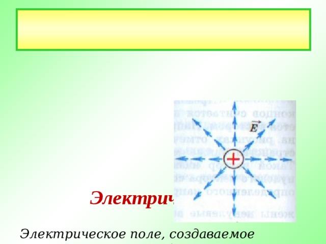 Электрическое поле   Электрическое поле, создаваемое  в пространстве зарядами,  характеризуется в каждой точке  пространства вектором  напряженности электрического  поля.  На рис. изображены  векторы напряженности  электрического поля  положительного  точечного заряда.