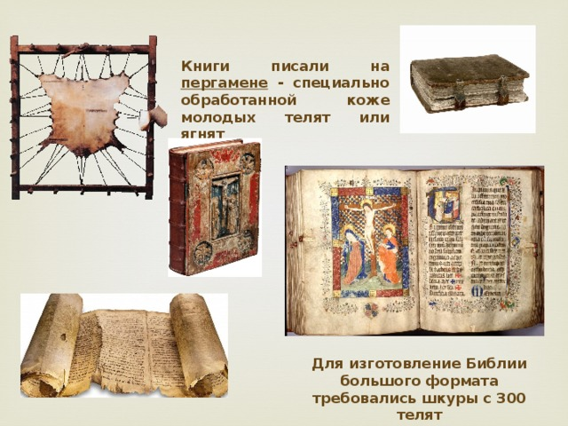 Книги писали на пергамене - специально обработанной коже молодых телят или ягнят Для изготовление Библии большого формата требовались шкуры с 300 телят