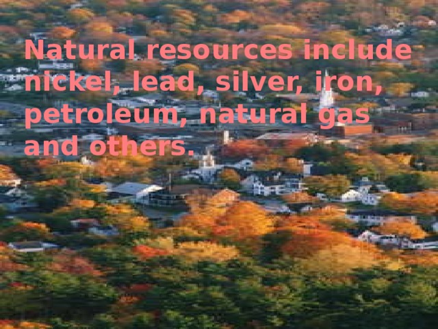 Natural resources include nickel, lead, silver, iron , petroleum, natural gas  and others.