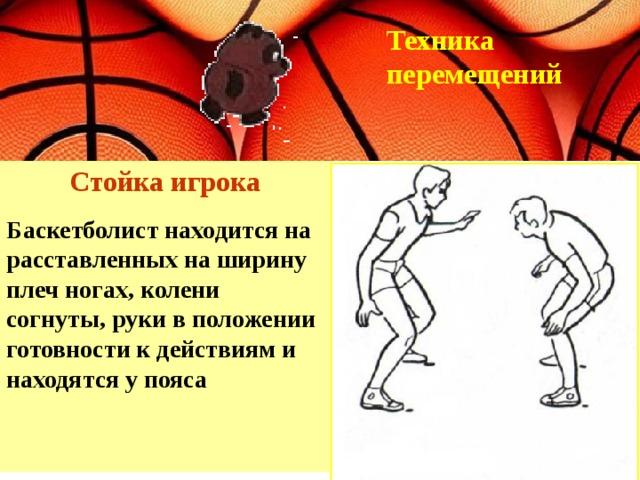 Техника перемещений Стойка игрока Баскетболист находится на расставленных на ширину плеч ногах, колени согнуты, руки в положении готовности к действиям и находятся у пояса