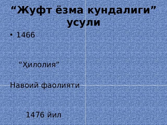 """"""" Жуфт ёзма кундалиги"""" усули 1466 """" Ҳилолия"""" Навоий фаолияти  1476 йил"""