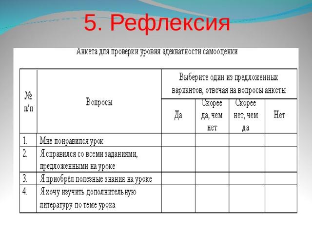 5. Рефлексия