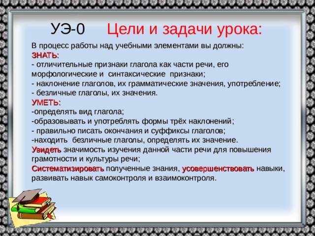 УЭ-0 Цели и задачи урока: В процесс работы над учебными элементами вы должны:  ЗНАТЬ:  - отличительные признаки глагола как части речи, его морфологические и синтаксические признаки;  - наклонение глаголов, их грамматические значения, употребление;  - безличные глаголы, их значения.  УМЕТЬ:  -определять вид глагола;  -образовывать и употреблять формы трёх наклонений;  - правильно писать окончания и суффиксы глаголов;  -находить безличные глаголы, определять их значение.  Увидеть значимость изучения данной части речи для повышения грамотности и культуры речи;  Систематизировать полученные знания, усовершенствовать навыки, развивать навык самоконтроля и взаимоконтроля.