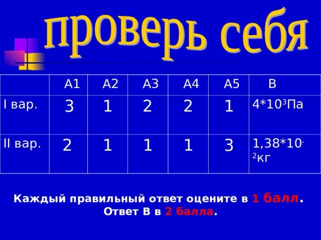 А1 I вар. II вар.  А2  3   А3  2  1  А4  2  1  А5  1  2  1   В  1  3  4*10 3 Па 1,38*10 -2 кг Каждый правильный ответ оцените в 1 балл .  Ответ В в 2 балла .