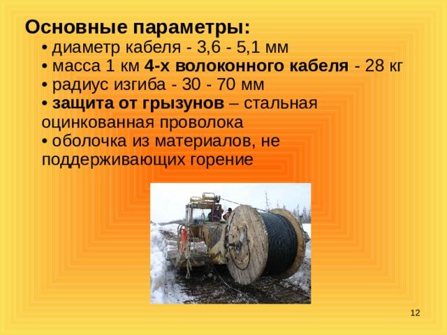 Основные параметры:  • диаметр кабеля - 3,6 - 5,1 мм  • масса 1 км 4-х волоконного кабеля - 28 кг  • радиус изгиба - 30 - 70 мм  • защита от грызунов – стальная оцинкованная проволока  • оболочка из материалов, не поддерживающих горение