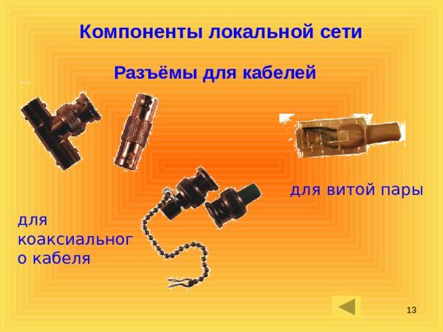 Компоненты локальной сети Разъёмы для кабелей для витой пары для коаксиального кабеля