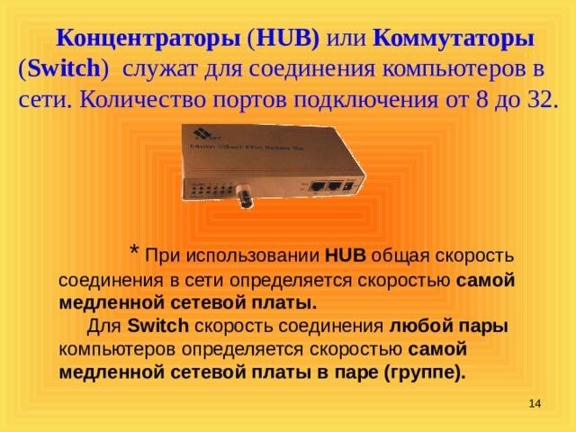 Концентраторы  ( HUB) или Коммутаторы ( Switch ) служат для соединения компьютеров в сети. Количество портов подключения от 8 до 32.  * При использовании HUB общая скорость соединения в сети определяется скоростью самой медленной сетевой платы.   Для Switch скорость соединения любой пары компьютеров определяется скоростью самой медленной сетевой платы в паре (группе).