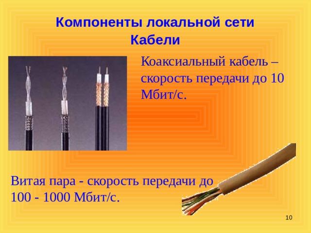 Компоненты локальной сети Кабели Коаксиальный кабель – скорость передачи до 10 Мбит/с. Витая пара - скорость передачи до 100 - 1000 Мбит/с.