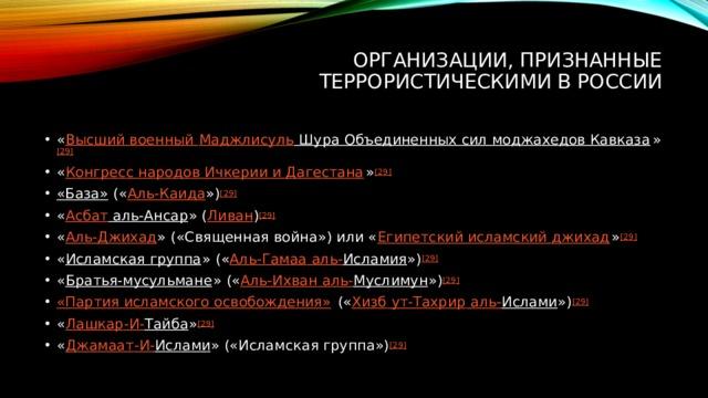 Организации, признанные террористическими в России