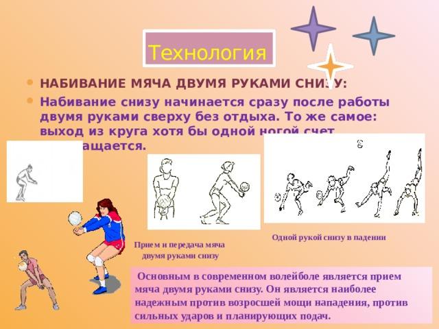 Прием и передача мяча  двумя руками снизу  Основным в современном волейболе является прием мяча двумя руками снизу. Он является наиболее надежным против возросшей мощи нападения, против сильных ударов и планирующих подач. Технология Набивание мяча двумя руками снизу: Набивание снизу начинается сразу после работы двумя руками сверху без отдыха. То же самое: выход из круга хотя бы одной ногой счет прекращается. Одной рукой снизу в падении