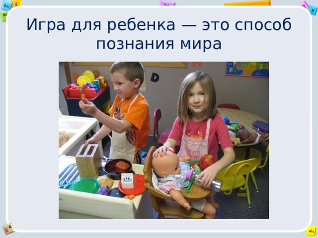 Игра для ребенка — это способ познания мира