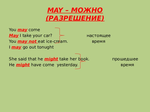 MAY – МОЖНО  (РАЗРЕШЕНИЕ) You may come May I take your car? настоящее You may not eat ice-cream. время I may go out tonught She said that he might take her book. прошедшее He might have come yesterday. время