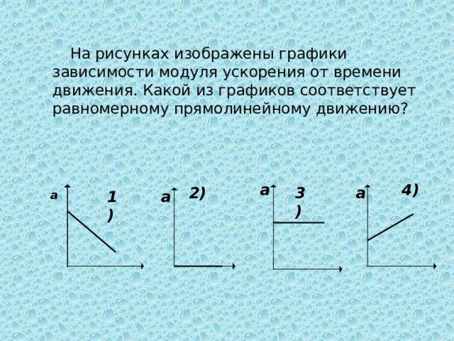 а На рисунках изображены графики зависимости модуля ускорения от времени движения. Какой из графиков соответствует равномерному прямолинейному движению? а 4) а 2) 3) а 1)