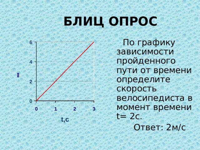 БЛИЦ ОПРОС  По графику зависимости пройденного пути от времени определите скорость велосипедиста в момент времени t= 2с.  Ответ: 2м/с