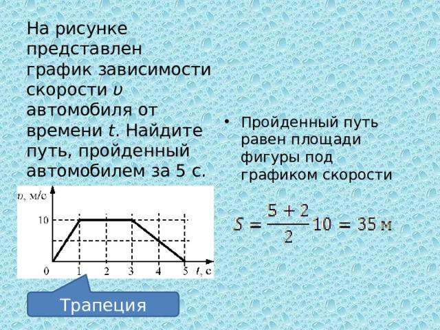 На рисунке представлен график зависимости скорости υ автомобиля от времени t . Найдите путь, пройденный автомобилем за 5 с. 1) 0 м; 2) 20 м; 3) 30 м; 4) 35 м Пройденный путь равен площади фигуры под графиком скорости Трапеция