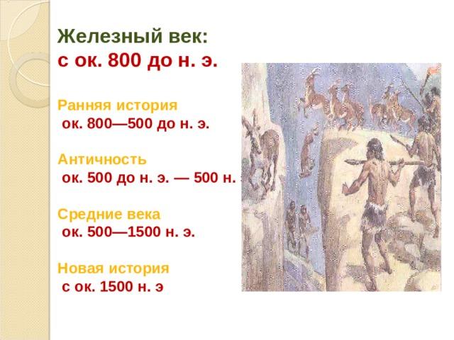 Железный век: с ок. 800 до н. э.  Ранняя история  ок. 800—500 до н. э.  Античность  ок. 500 до н. э. — 500 н. э.  Средние века  ок. 500—1500 н. э.  Новая история  с ок. 1500 н. э
