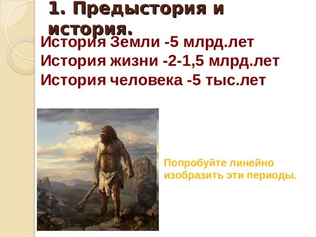 1. Предыстория и история. История Земли -5 млрд.лет История жизни -2-1,5 млрд.лет История человека -5 тыс.лет   Попробуйте линейно изобразить эти периоды.