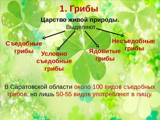 1. Грибы Царство живой природы.  Выделяют В Саратовской области около 100 видов съедобных грибов, но лишь 50-55 видов употребляют в пищу. Несъедобные грибы Съедобные грибы Ядовитые грибы Условно съедобные грибы