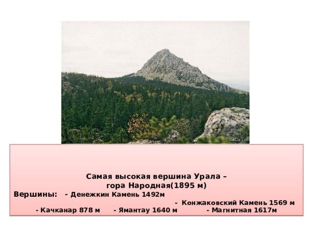 Самая высокая вершина Урала –  гора Народная(1895 м)  Вершины: - Денежкин Камень 1492м - Конжаковский Камень 1569 м  - Качканар 878 м - Ямантау 1640 м - Магнитная 1617м