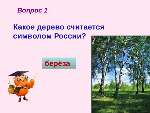 Вопрос 1 Какое дерево считается символом России? берёза