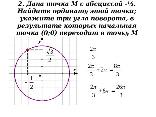 2. Дана точка М с абсциссой - ½. Найдите ординату этой точки; укажите три угла поворота, в результате которых начальная точка (0;0) переходит в точку М   М