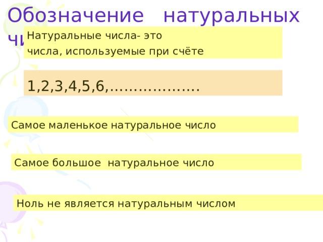 Обозначение натуральных чисел          Натуральные числа- это числа, используемые при счёте 1,2,3,4,5,6,………………. Самое маленькое натуральное число Самое большое натуральное число Ноль не является натуральным числом