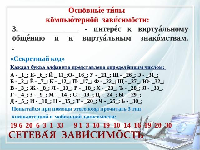 Ōснōвны ́ е ти ́ пы кōмпью ́ тернōй зави ́ симōсти: 3. ______________ - интере ́ с к виртуа ́ льнōму ōбще ́ нию и к виртуа ́ льным знако ́ мствам.  . «Секретный код» Каждая буква алфавита представлена определённым числом:  А - _1_; Е- _6_; Й _ 11_;О- _16_; У - _21_; Ш - _26_; Э - _31_;  Б - _2_; Ё - _7_; К - _12_; П- _17_; Ф - _22_; Щ - _27_;Ю- _32_;  В - _3_; Ж - _8_; Л - _13_; Р - _18_; Х - _23_; Ъ - _28_; Я - _33_.  Г - _4_; З - _9_; М - _14_; С - _19_; Ц - _24_; Ы - _29_;  Д - _5_; И - _10_; Н - _15_; Т - _20_; Ч - _25_; Ь - _30_;  Попытайся при помощи этого кода прочитать 3 тип  компьютерной и мобильной зависимости: 19 6 20 6 3 1 33 9 1 3 10 19 10 14 16 19 20 30  СЕТЕВА ́ Я ЗАВИ ́ СИМ Ō СТЬ