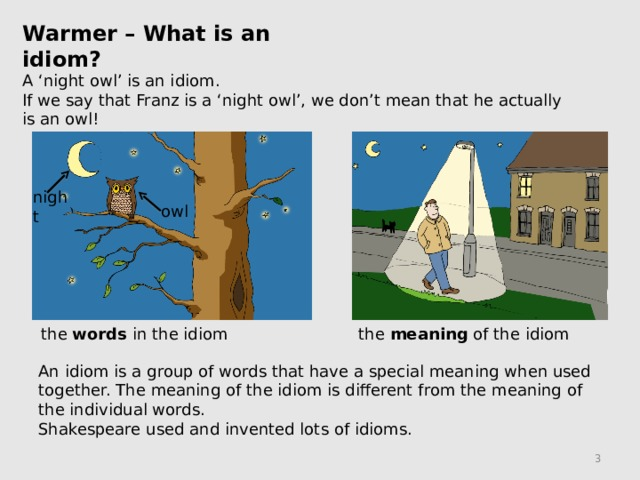 Warmer – What is an idiom? A 'night owl' is an idiom. If we say that Franz is a 'night owl', we don't mean that he actually is an owl! night owl the words in the idiom the meaning of the idiom An idiom is a group of words that have a special meaning when used together. The meaning of the idiom is different from the meaning of the individual words. Shakespeare used and invented lots of idioms.