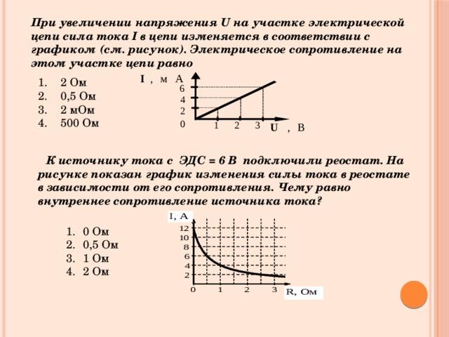 При увеличении напряжения U на участке электрической цепи сила тока I в цепи изменяется в соответствии с графиком (см. рисунок). Электрическое сопротивление на этом участке цепи равно 2 Ом 0,5 Ом 2 мОм 500 Ом . К источнику тока с ЭДС = 6 В подключили реостат. На рисунке показан график изменения силы тока в реостате в зависимости от его сопротивления. Чему равно внутреннее сопротивление источника тока?