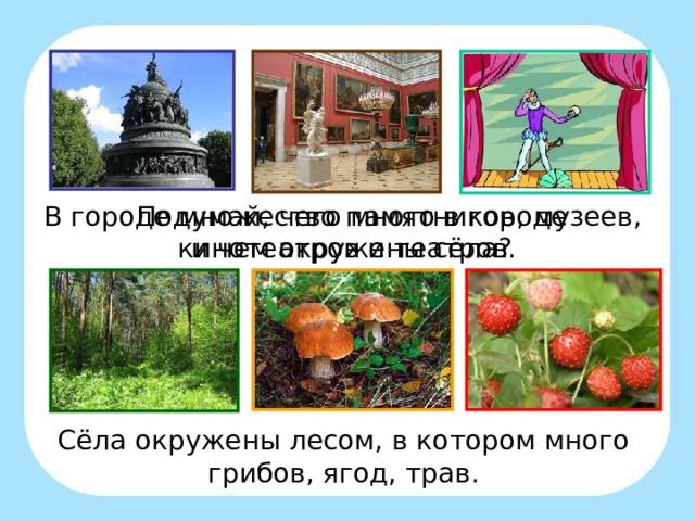 В городе множество памятников, музеев, кинотеатров и театров. Подумай, чего много в городе и чем окружены сёла? Сёла окружены лесом, в котором много грибов, ягод, трав.