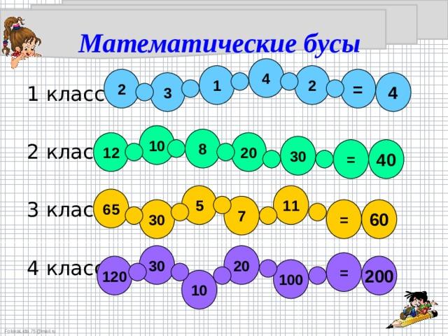 Математические бусы 4 1 2 2 = 3 4 10 8 20 12 30 = 40 5 11 65 7 = 60 30 30 20 = 120 200 100 10